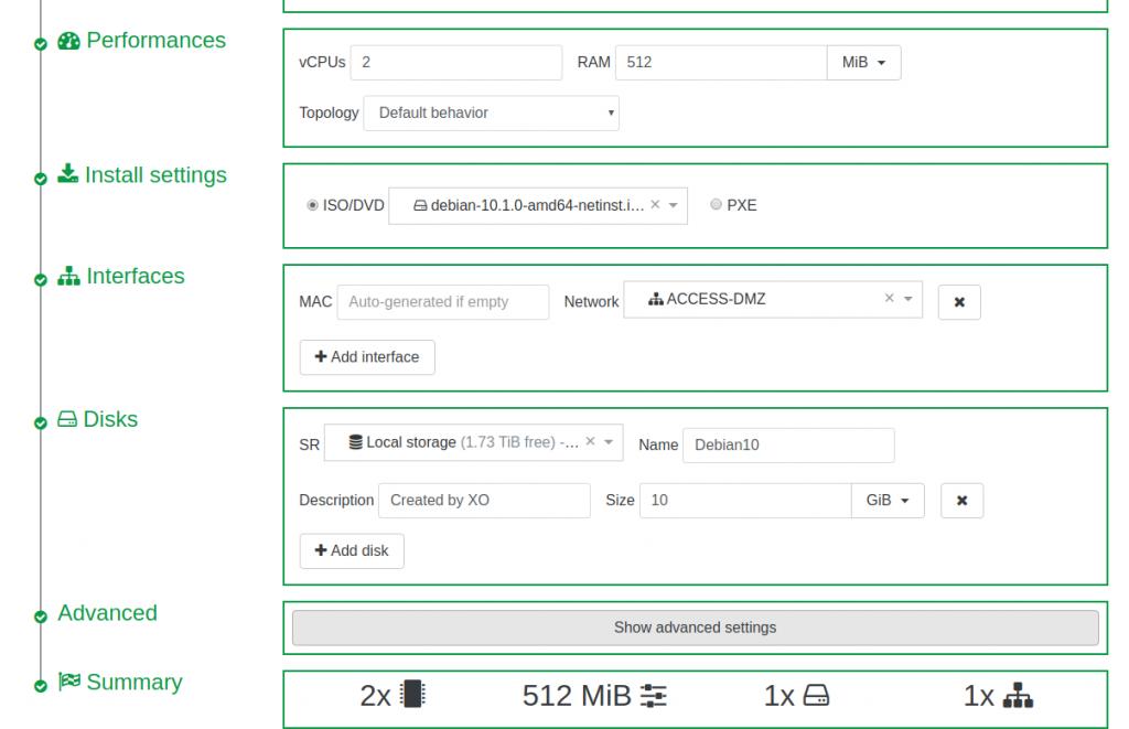 Formulário de criação de VM no XOCE - XCP-ng