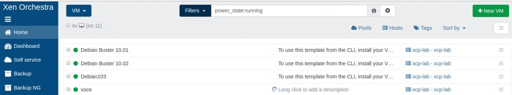 Múltiplas VMs criadas via no XCP-ng via XOCE